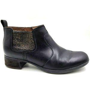 Dansko Lola Black Leather Chelsea Ankle Boots 38